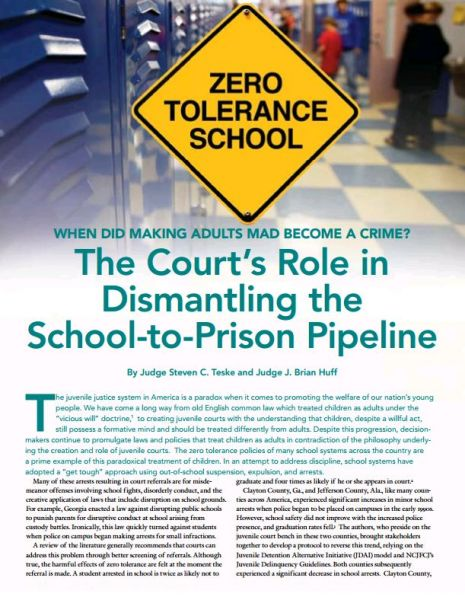 The court's role in Dismantling the school-to-Prison Pipeline