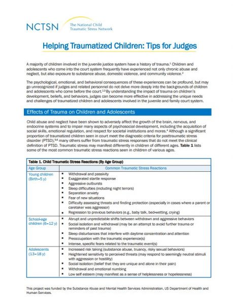 Helping Traumatized Children: Tips for Judges