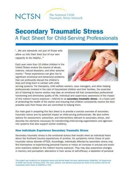 Secondary Traumatic Stress A Fact Sheet for Child-Serving Professionals