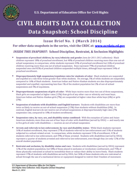 Civil Rights Data Collection - Data Snapshot: School Discipline