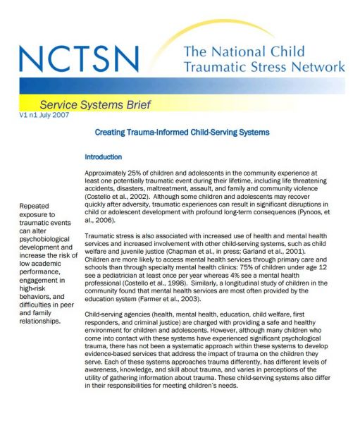 Creating Trauma-Informed Child-Serving Systems